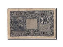 Italie, 10 Lire, 1944, KM:32b, 1944-11-23, TB - [ 1] …-1946 : Koninkrijk