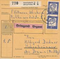 WEINHEIM  - 1964 , Paketkarte  , Urgent , Dringend -  Anette Von Droste-Hülshoff - BRD
