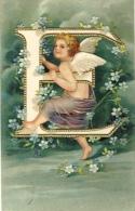 Fantaisie - Alphabet  - Lettre E - Carte Gaufrée Angelot, Fleurs -1906( Voir Verso ) - Non Classés