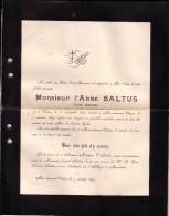 VIRTON MEIX-DEVANT-VIRTON Curé émérite Abbé BALTUS 1829-1899 Faire-part Mortuaire - Obituary Notices