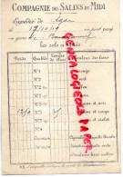34 - MONTPELLIER - COMPAGNIE DES SALINS DU MIDI - 1919- A LE COMPEIX 23-MME PARIZET  CREUSE - RARE - Montpellier