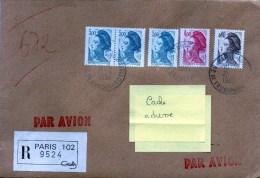 Composition De Couleurs Sur Lettre Recommandée à Destination D'Abidjan CAD PARIS 102 - 1982-90 Liberty Of Gandon