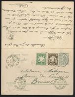 Ep allemand double 2 volets se tenant  : 2pf + 3 + 5 fg de MUNCHEN/1906 pour Bruxelles + r�ponse 2 pf + N�55 X 4 de I...
