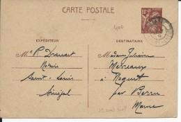 1941 - SENEGAL - CARTE ENTIER TYPE IRIS AVEC UTILISATION HORS DE FRANCE De ST LOUIS Pour La MARNE - Entiers Postaux