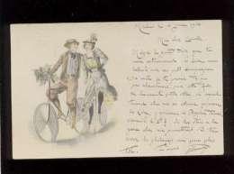 Couple à Vélo Illustrée Non Signée Pas D´éditeur  Précurseur , Texte Intéressant Moulins 03 - Cartoline
