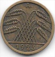 *weimar Rep. 5 Rente Pfennig 1923 A  Km 32  Vf - 5 Rentenpfennig & 5 Reichspfennig