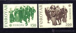 ISLAS FEROE AÑO 1981 YVERT Nº 57/58 ** MNH Sellos Nuevos Sin Fijasellos - EUROPA - FOLKLORE - Féroé (Iles)