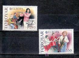 ISLAS FEROE AÑO 1985 YVERT Nº 110/11 ** MNH Sellos Nuevos Sin Fijasellos - EUROPA - AÑO EUROPEO DE LA MUSICA - Féroé (Iles)