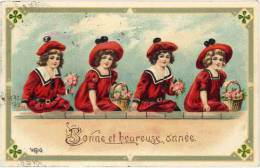 Cpa Fantaisie : Bonne Et Heureuse Année ( Robes Rouge, Gaufrée ) - Autres