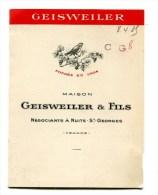 Feuille De Tarif : Vins De Bourgogne Nuits St Georges Maison  GEISWEILER Cuvée  1921  à 1926 - Advertising