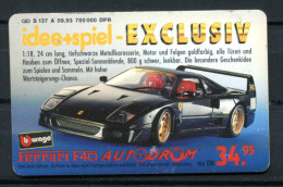 """Germany,Allemagne 1993 Phone Card S-Serie""""Idee Und Spiel-Spielautos-Ferrari F40 """"1 TC Used - Jeux"""
