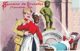 Souvenir De  BRUXELLES - Manneken-Pis - Carte Colorée Humoristique Légérement Gauffrée - Bruxelles-ville