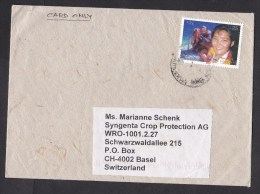 Nepal: Cover To Switzerland, 2010, 1 Stamp, Female Mountaineer, Sherpa, Himalaya, Mountains (traces Of Use) - Nepal