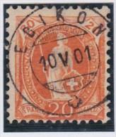 Heimat LU EBIKON 1901-05-10 Vollstempel Auf Zu#66D Orange 20Rp Stehende Helvetia - 1882-1906 Armoiries, Helvetia Debout & UPU