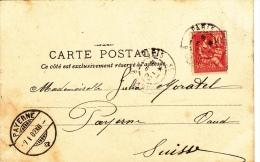 Timbre Mouchon  N° 116 Seul Sur Carte Précurseur ! Paris 6.02 & Payerne 7.1.02 - 1900-02 Mouchon