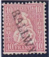 Heimat LU BALLWYL 186+ Langstempel Auf Zu#38 Karmin 10Rp Sitzende Helvetia - 1862-1881 Helvetia Assise (dentelés)