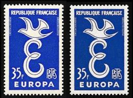 FRANCE 1958 - Yv. 1174 ** TB X2 Variété Nuances - Europa 1958 ..Réf.FRA28551 - Errors & Oddities