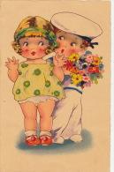 ENFANTS - LITTLE GIRL - MAEDCHEN - Jolie Carte Fantaisie Portrait Fillette Et Petit Marin Avec Fleurs - Dessins D'enfants