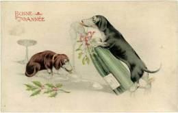 Bonne Année, Chiens Teckel, Champagne – Eld ( AN ) - Hunde