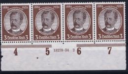 Deutsche Reich Mi Nr 540 Y A Dunkelrotlichbraun  Not Used (*) 1934 Randstuck HAN Nr
