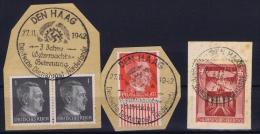 Deutsche Reich Deutsche Dienstpost Niederlande , 3 X Fragment