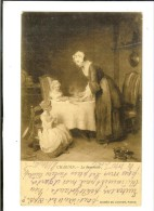 31. LL Musée Louvre J.L. Chardin : Le Benedicité  - 2 Scans -  Timbre 1908semeuse Camée 10c - Pintura & Cuadros