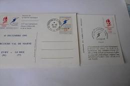 Carte Obl. (lot De 2) Parcours De La Flamme Olympique Paris 14-15/12/1991 - Marcophilie (Lettres)