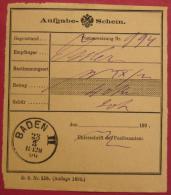 2500 Baden 2 - Aufgabeschein Für Eine Postanweisung Nach Wien 1900 - Poststempel - Freistempel