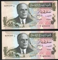 TUNISIE, 2 BILLETS DE 1/2 DINAR, NUMEROS SE SUIVANT, FOLLOWING NUMBERS, 2 SCANS - Tunisia