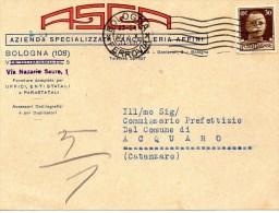 Cartolina Postale Pubblicitaria Commerciale 1934 Bologna - Dinami CT- Cancelleria ASCA - 1900-44 Victor Emmanuel III