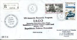 N°482 B -pli Recommandé TAAF -cachet 40è Anniversaire Bureau Poste Terre Adélie- - Terres Australes Et Antarctiques Françaises (TAAF)