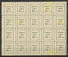 LITAUEN Lithuania 1919 Michel 18 Kaunas Issue Complete Sheet MNH Incl ERRORS - Litauen