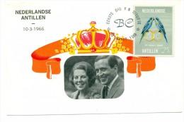 1966 Netherlands Antilles Royal Wedding 25c First Day Cover Postal Card - Curacao, Netherlands Antilles, Aruba