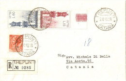 BUSTA RACCOMANDATA AFFRANCATA SERIE 180 CENTENARIO APPARIZIONE LOURDES BORDO DI FOGLIO + SIRACUSANA £ 10 - 1946-60: Marcophilie