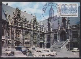 = Palais De Justice De Rouen Carte Postale 1er Jour 76 Rouen 25.1.75 N°1806 Vue Du Bâtiment - Maximumkarten