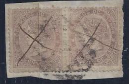 ESPAÑA 1867 - Edifil #92 Par En Fragmento - VFU - Unused Stamps