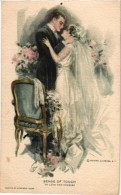 6 Postcards Harrison Fisher Glamour Signed & Numbered Sense Of Touch -Hearing -Taste-Sight-Honeymoon Kiss - Fisher, Harrison