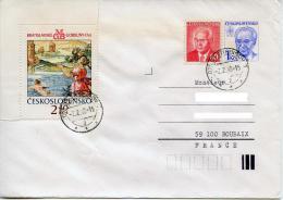 Entier Postal,enveloppe Husak 1 Kcs,Tchecoslovaquie,art Tapisserie Bratislava,femme Nage Dans L´eau,lettre 2.2.1990 - Covers