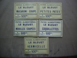 PATES ALIMENTAIRES LE BLEUET COQUILLETTES MACARONI COUPE VERMICELLE NOUILLES COUPEES PETITES PATES - Etiquettes