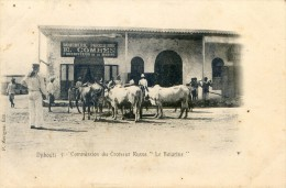 """Djitouti - Commission Du Croiseur Russe Le """"Boiarine"""" Devant Boucherie Parisienne Combes Fournisseur Marine - Djibouti"""