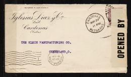 1918 (Cardenas)  To USA, WWI Cover, USA Censor (A272) - Cuba