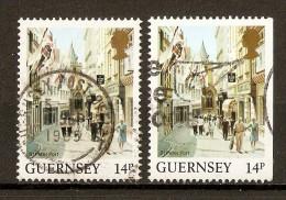 """1985 - Vue De L'île """"Rue Commerçant à St. Peter Port"""" N°295 & 295a - Guernsey"""
