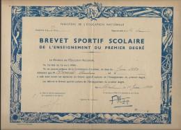 Brevet Sportif Scolaire De L´Enseignement Du Premier Degré/ Ministére De L´Education Nationale/ 1965    DIP51 - Diploma & School Reports