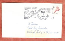 Brief, Muschel, Figurenstempel Halley's Komet Atlantic City, Nach Wichita Falls 1986 (89748) - Storia Postale