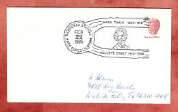 Brief, Muschel, Figurenstempel Mark Twain Halley's Komet Parforex Station Park Forest, Nach Wichita Falls 1986 (89749) - Storia Postale