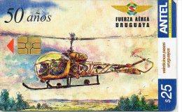 Hélicoptère  Helicopter  Télécarte Jet Avion Phonecard  Telefonkarten (300) - Uruguay