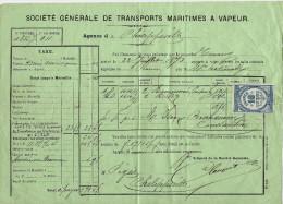 NAVIRE NAVIGATION  COMMERCE MARITIME 1873 De  ROUEN Pour PHILIPPEVILLE ALGERIE   V.SCANS+HISTORIQUE - Frankreich