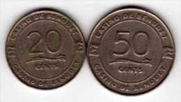 2 Jetons De Slot Machine à Sous : Casino De Benodet 20 Euro Cents & 50 Euro Cents - Casino