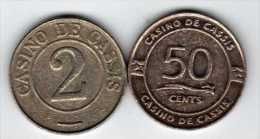 2 Jetons De Slot Machine à Sous : Casino De Cassis : 2 Francs & 50 Euro Cents - Casino