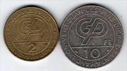 2 Jetons De Slot Machine à Sous : Casino Forges-les-Eaux 2 Francs & 10 Francs (Partouche) - Casino